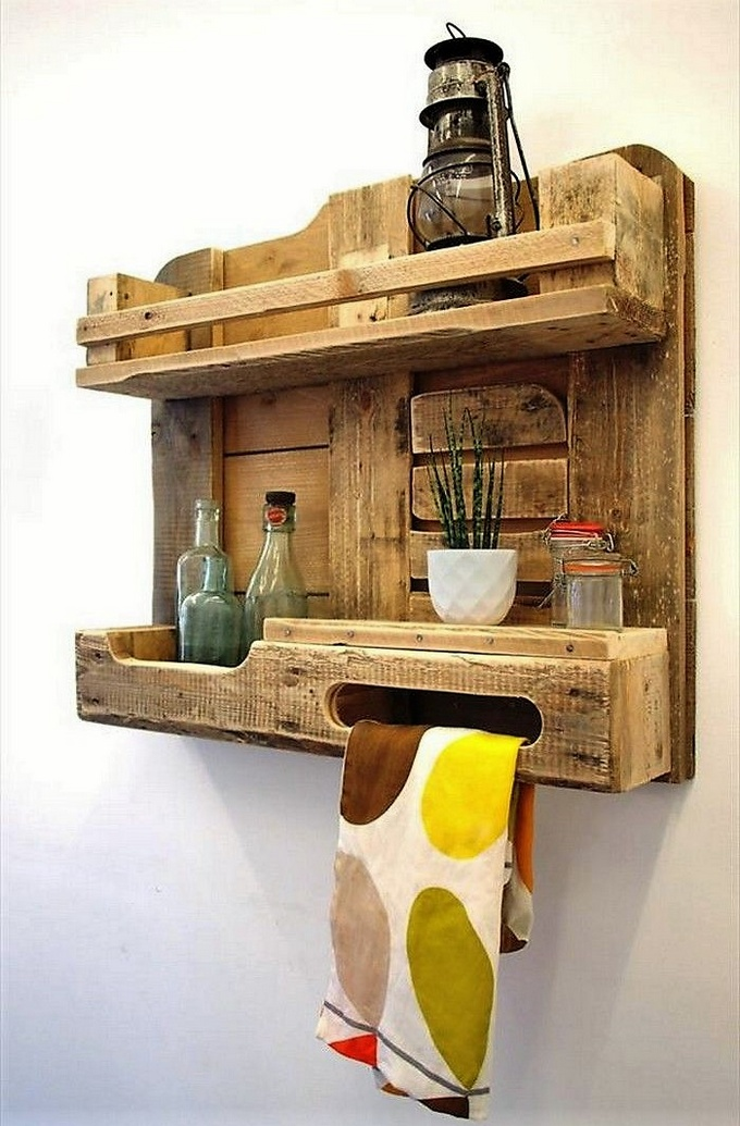 Wooden Pallets Made Kitchen Shelves