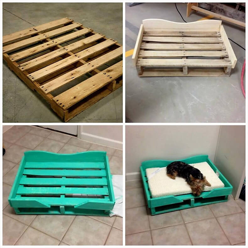 12 Diy Old Pallet Stairs Ideas: Wooden Pallet Dog Bed Idea 12
