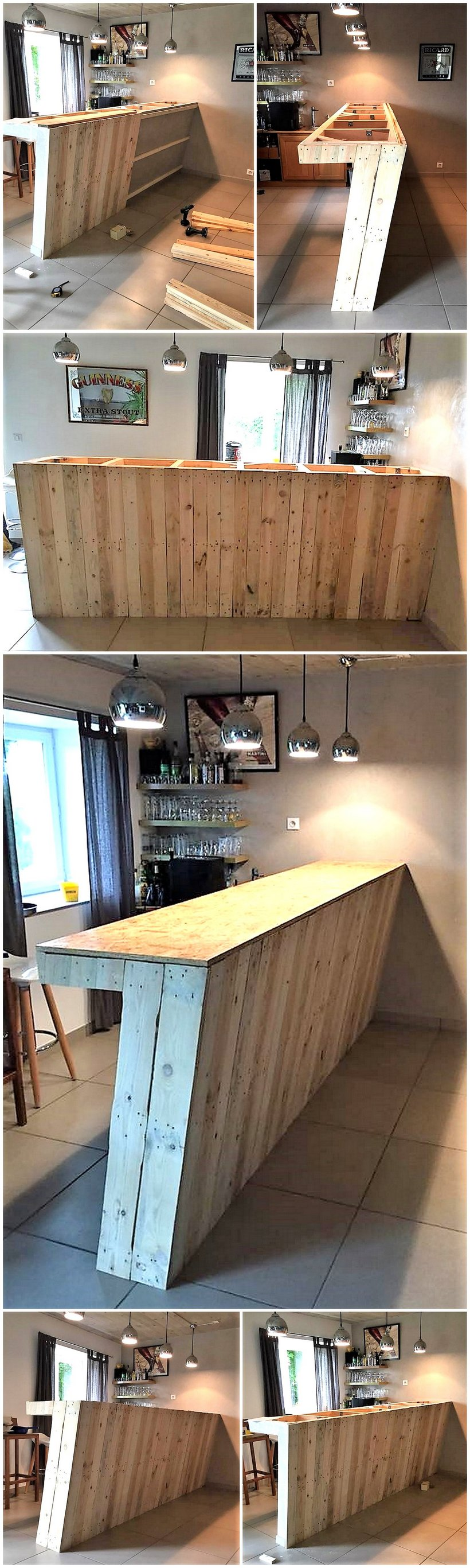 DIY wood pallet bar counter