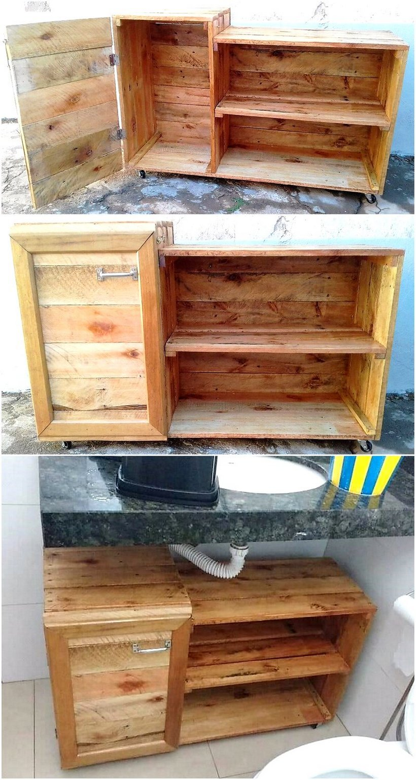 pallet bathroom cabinet on wheels