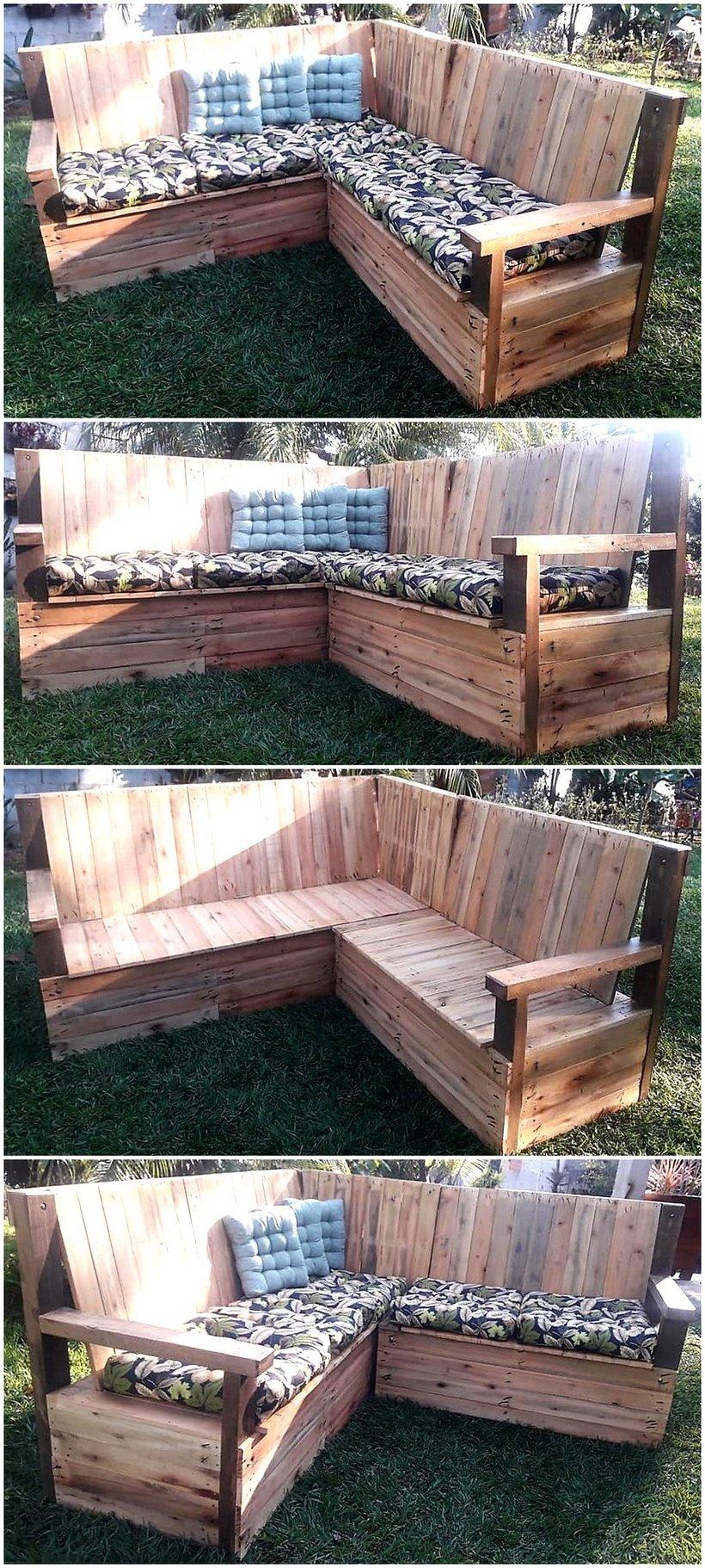 pallets made garden corner couch