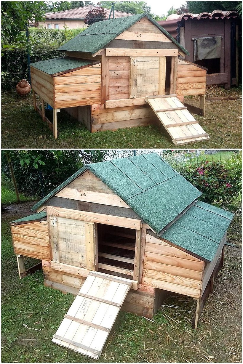 repurposed pallets wooden chicken coop