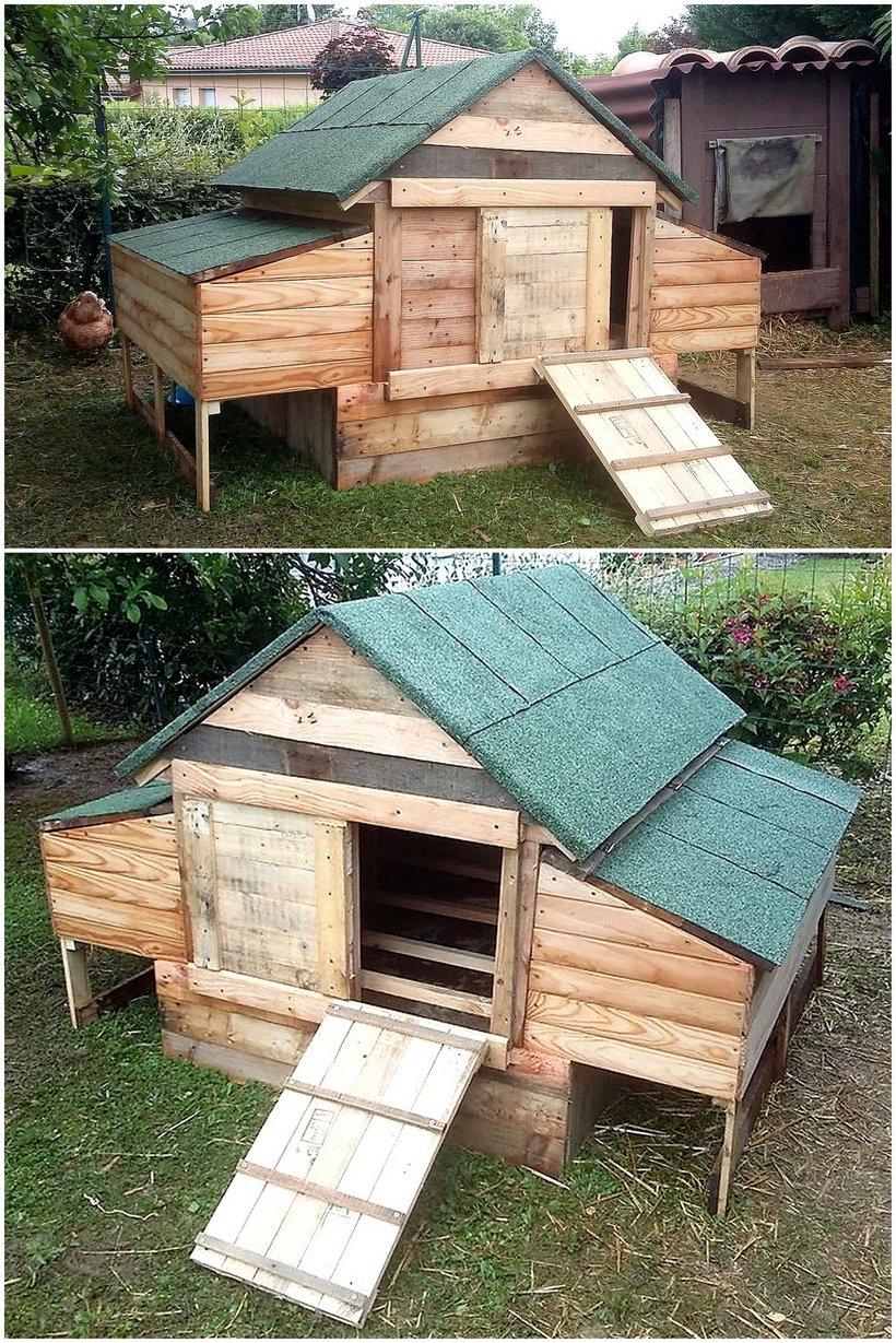 repurposed pallets wooden chicken coop