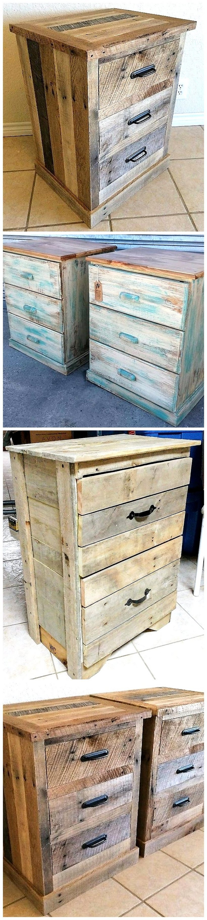 reused pallets side tables